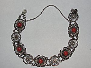 Sterling Silver Filigree And Blood Red Coral Bracelet