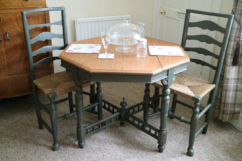 Amazing Beautiful Shabby Chic Edwardian Hexagonal Dining Table And 2 Chairs.  Painted In A Dark Green Design