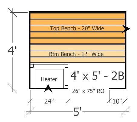 4x5 Sauna Layout With 2 Benches Best Use Of Space In This Home Sauna Plan Indoor Sauna Sauna Steam Room Sauna Design