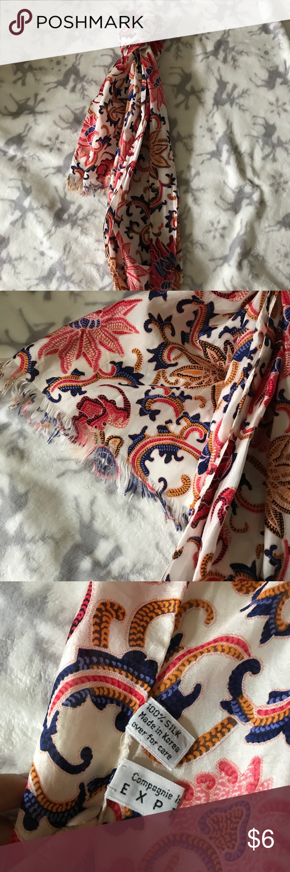 Express Silk Scarf Beautiful Scarf To Accessorize With Outfit Or In Bag Only Downfall Is The Hem On The Ends Of The Sca Cute Scarfs Scarf Accessory Silk Scarf