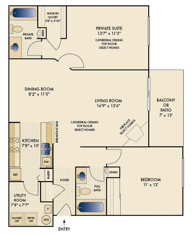 """Lenox"" Two Bedroom Two Bathroom 1092 Sq. Ft."