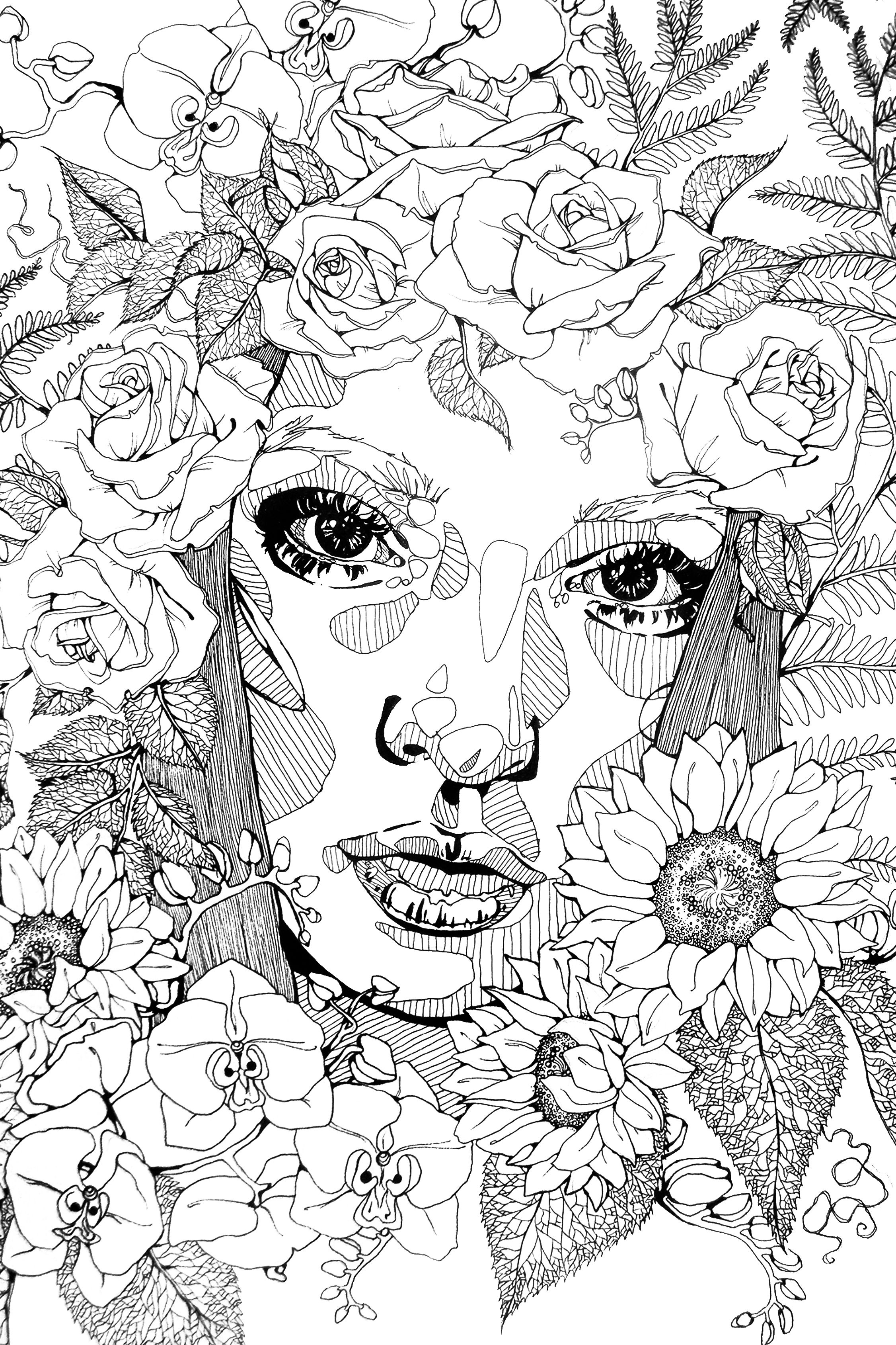 Micron portrait of woman with flowers. ashleydorneyart.tumblr.com ...