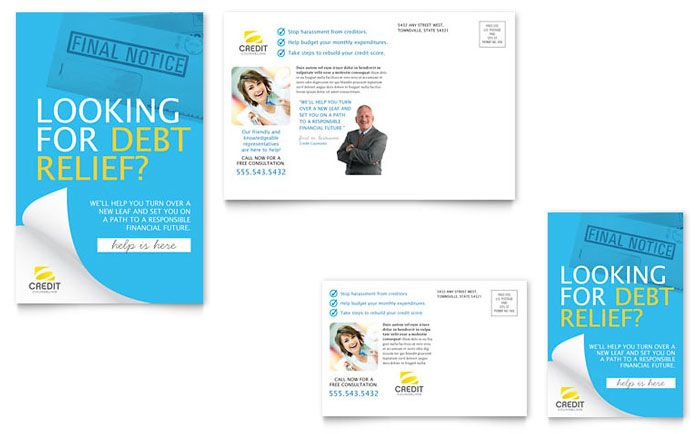 Consumer Credit Counseling Postcard Design Template by - final notice template