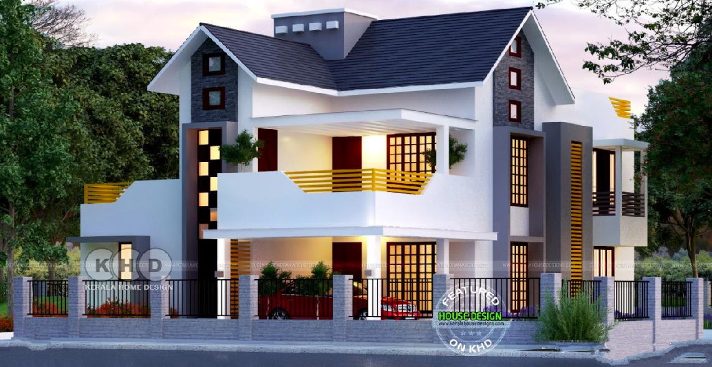 Elegant Villa With Black And White Theme Kerala Interior