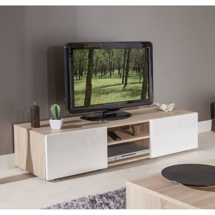 lime meuble tv contemporain blanc et ch ne l 140 cm meuble tv tv et chene blanc. Black Bedroom Furniture Sets. Home Design Ideas