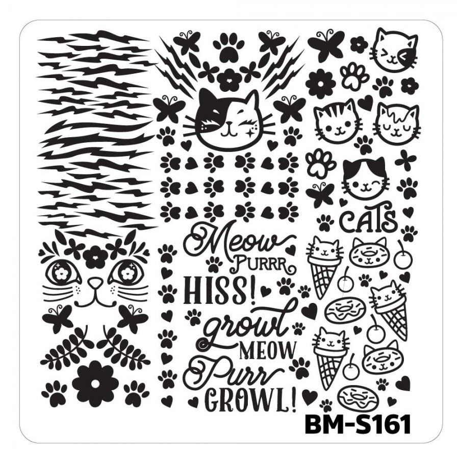 Nail Art Stamping Plates - Fuzzy and Ferocious: BM-S161, Cat Person ...