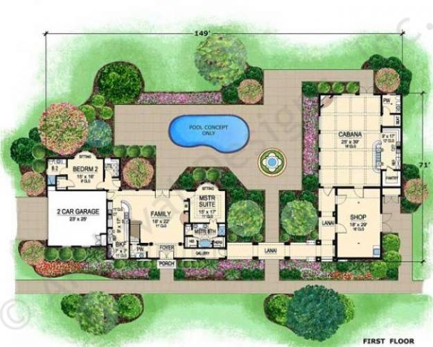 Villa di vino courtyard house plan small luxury house for Small villa design plan
