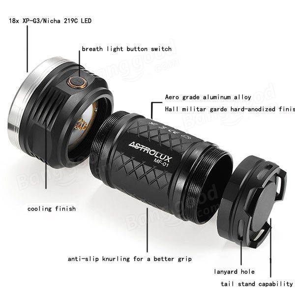 Astrolux MF01 18x XP-G3//Nichia 219C 12000LM Super Bright Searching-Level LED