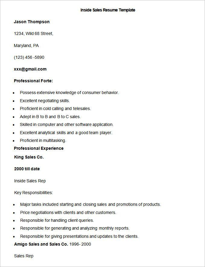Sample Inside Sales Resume Template , Write Your Resume Much Easier