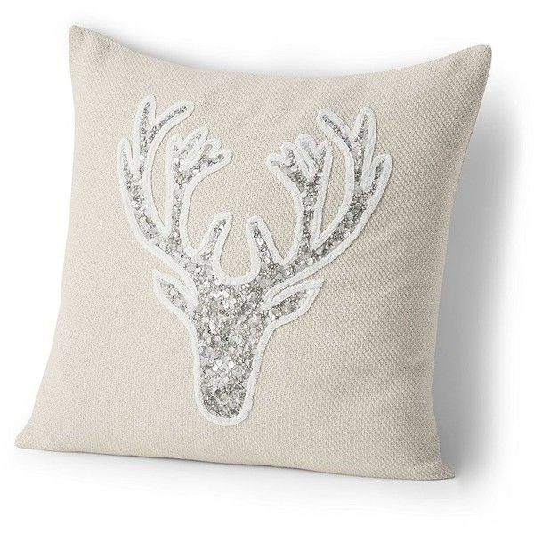 Lands' End 18x18 Holiday Decorative Pillows ($49) ❤ liked on Polyvore featuring home, home decor, throw pillows, embroidered throw pillows, lands' end, snowflake throw pillow and beaded throw pillows