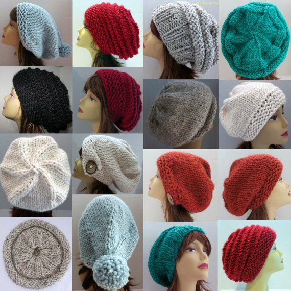 Hat Knitting Pattern to Make 36 Different Hats Slouch Hat Slouchy ...