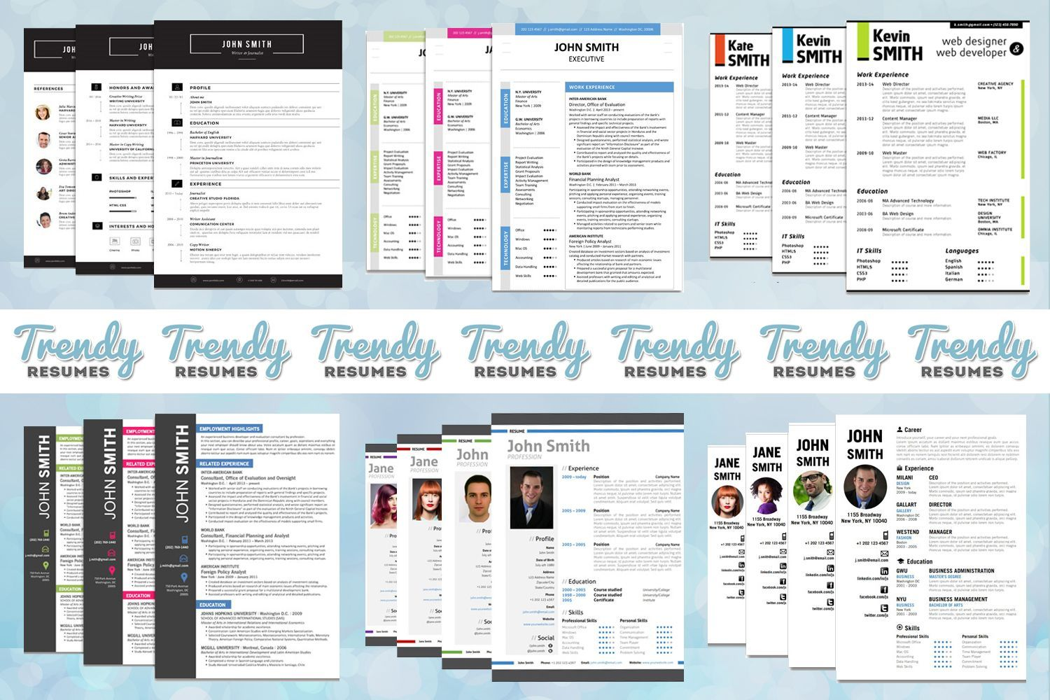 Professional, modern, creative resume templates for