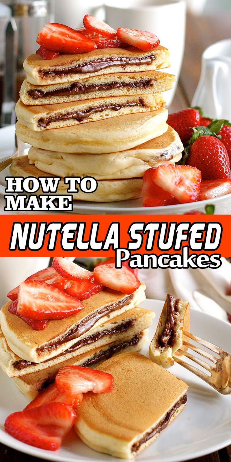 NUTELLA STUFFED PANCAKES is part of Nutella pancakes - NUTELLA STUFFED PANCAKES These Nutella Pancakes are not rightful two pancakes sandwiched with Nutella  This is a griddlecake STUFFED NEATLY with Nutella  Experience out how!! (It's caretaker duper painless!)