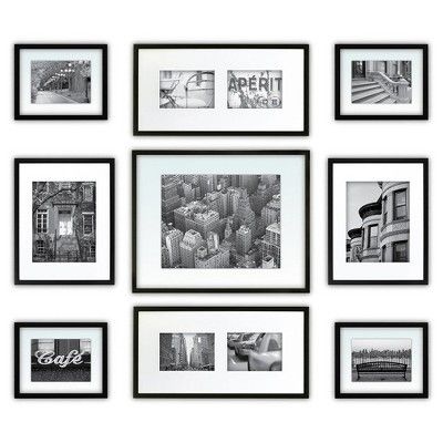 Gallery Perfect 9 Piece Multi Size Wall Frame Set Black Wall Frame Set Frames On Wall Picture Frame Sets