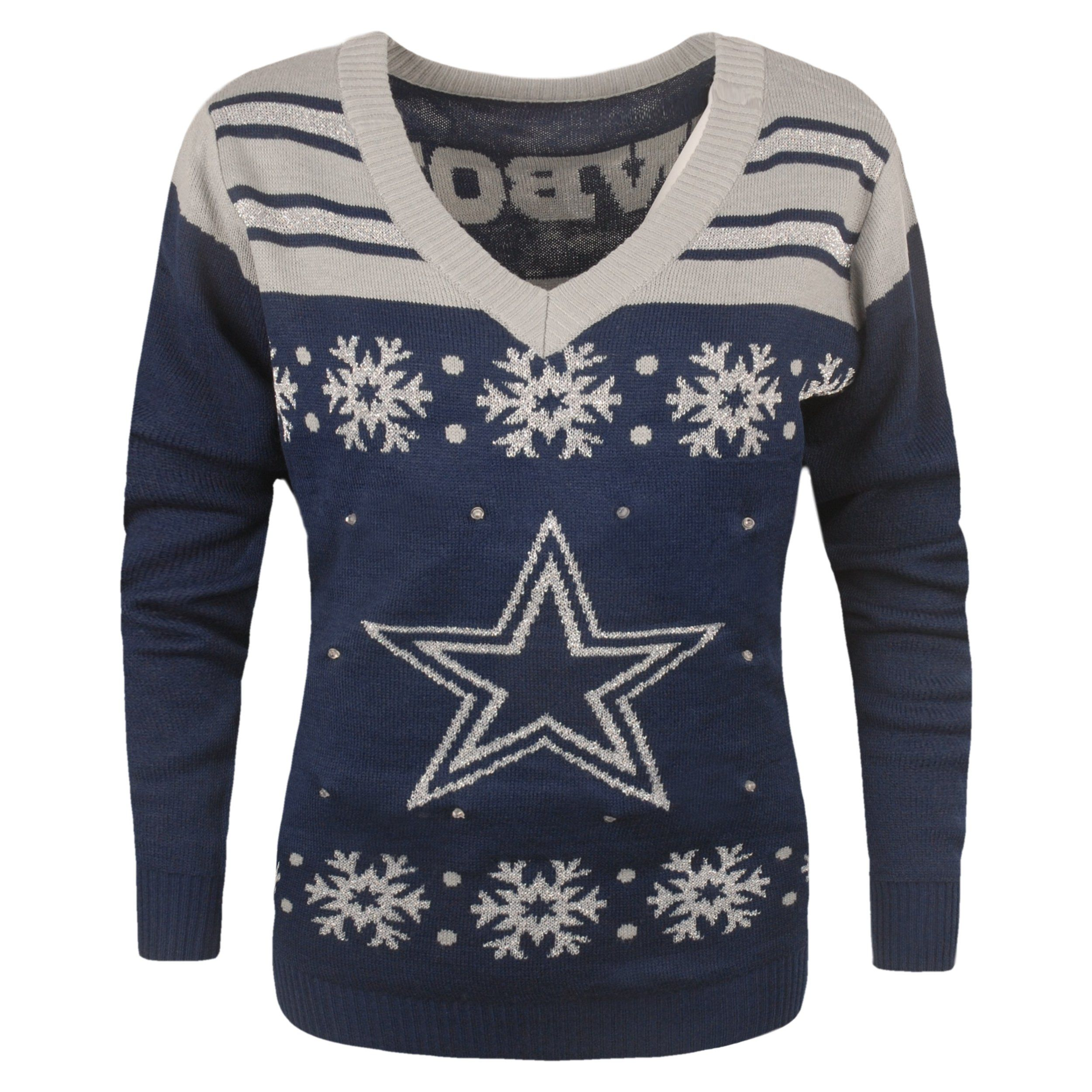 Dallas Cowboys Official Nfl Light Up V Neck Sweater Womens