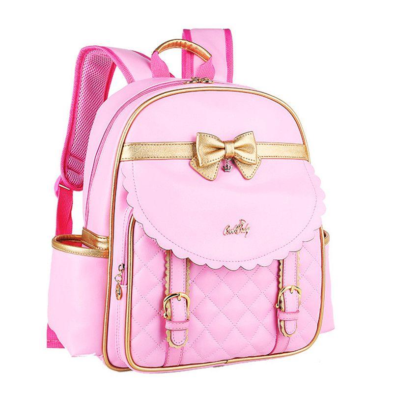 9370b34c5024 Kids Girls Princess PU Leather Backpack Pink Cute Bowknot Children Primary  School Backpacks Daypack Mochila Bag