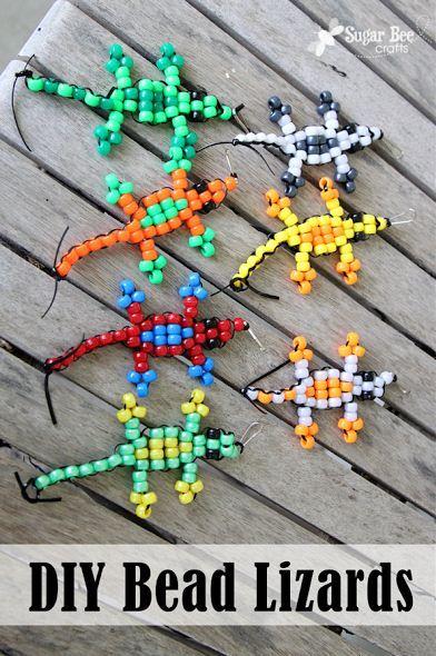 DIY bead lizards by @Nathalie Benito Benito Montecchi Bearden BeeCrafts #craftysummer