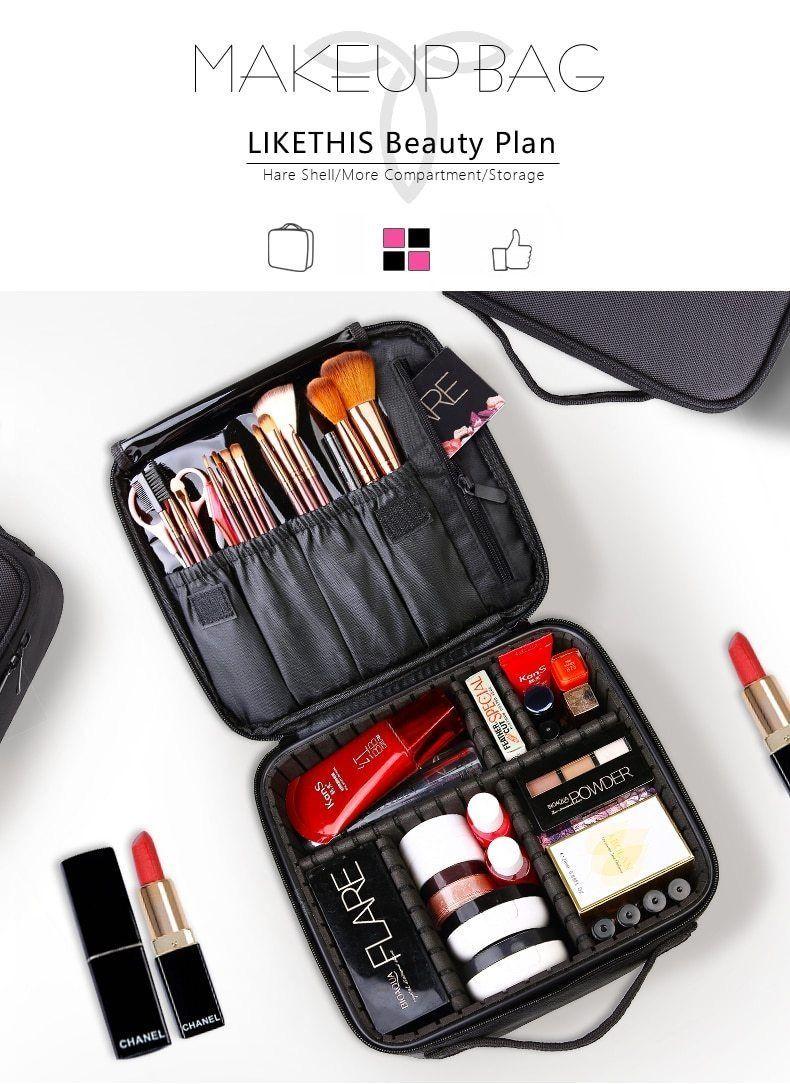 Professional Vanity Cosmetic Bag Organizer Women Travel