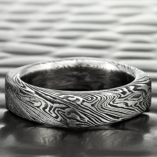 titanium and zirconium mokume square 5mm wedding band dark wood