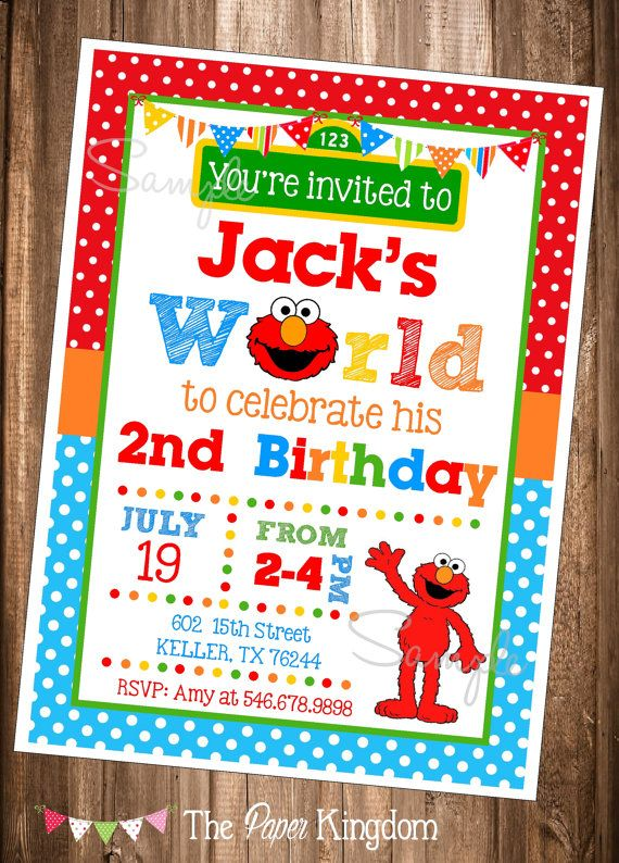 Elmo Invitations PRINTABLE Elmos World Invite Birthday Invitation Digital Invites
