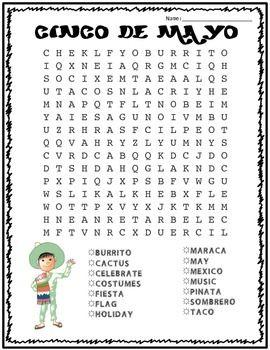 Cinco de Mayo Word Search: FREE!   Techie teacher, Writing ...