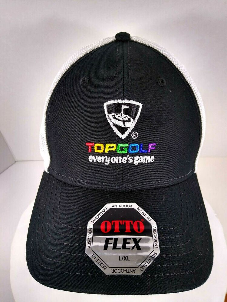 TopGolf Logo Baseball Style Hat Cap Black with White Mesh