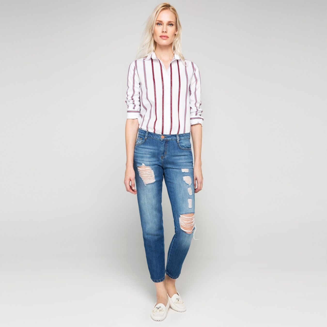 Koyu Mavi Yirtik Detayli Relax Jean Pantolon Mom Jeans Fashion Denim