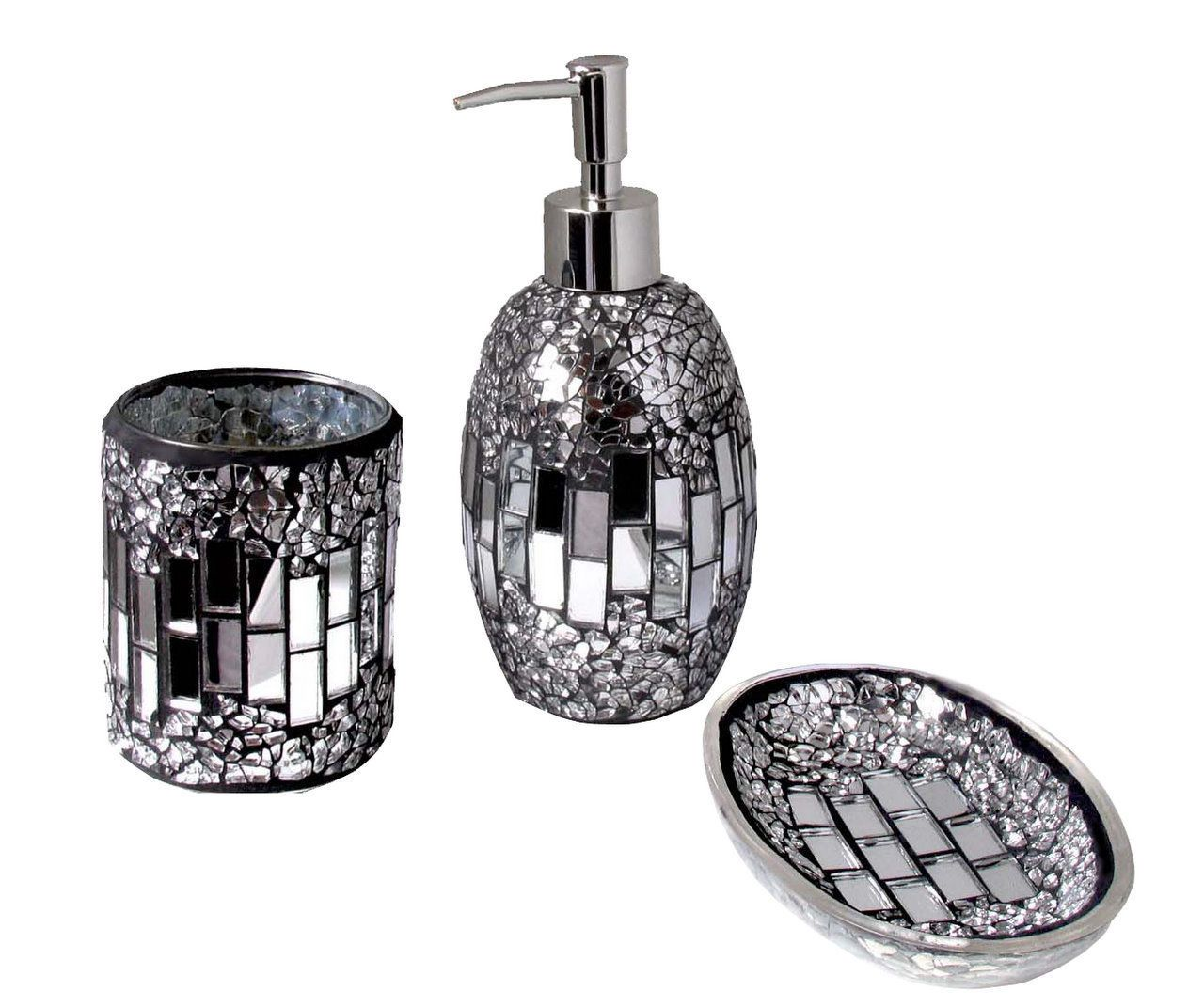 3pc modern silver black sparkle mosaic glass tile bathroom for Black bath accessories sets
