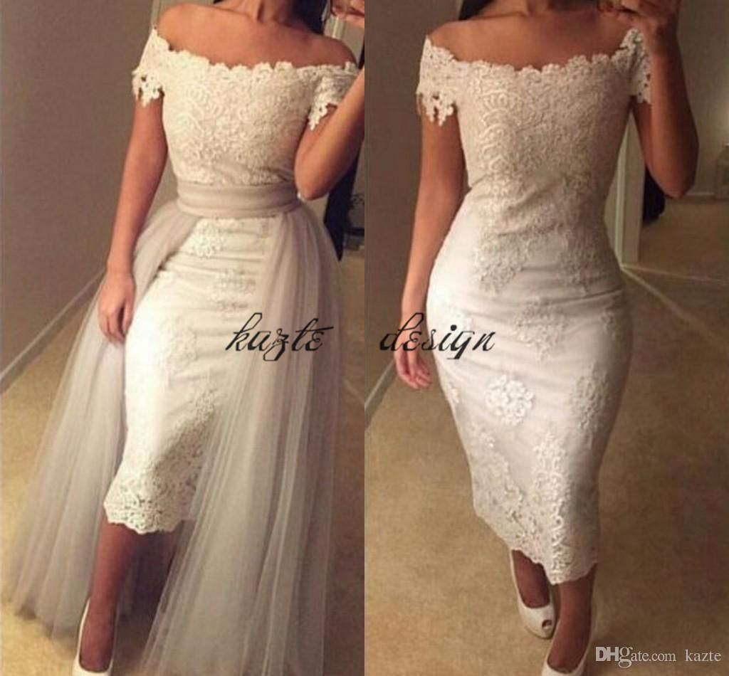 Off the shoulder tea length wedding dress  Offshoulder Lace TeaLength Wedding Dresses Appliques Sheath