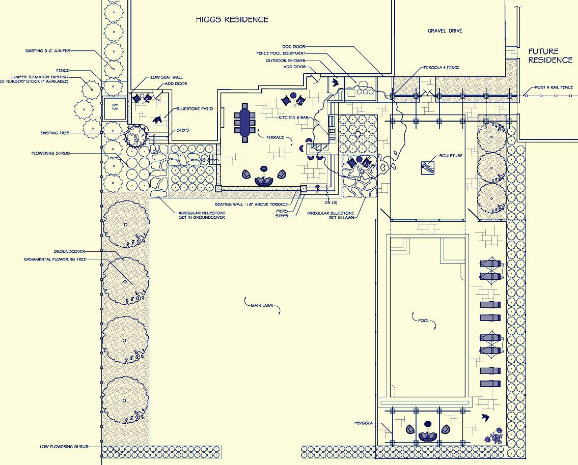 Landscape Master Plan With Swimming Pool Patio Outdoor Kitchen And Planting Design Gardendesigninc Com Landscape Plans Swimming Pools Plant Design