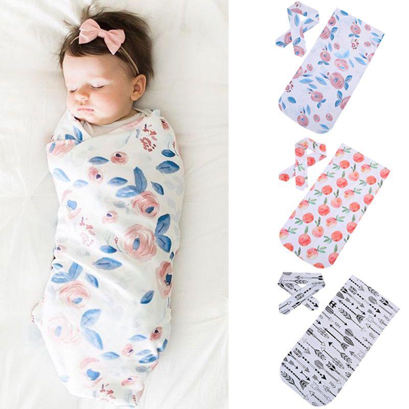 Headband UK Newborn Baby Floral Swaddling Blanket Infant Cloth Swaddle Wrap