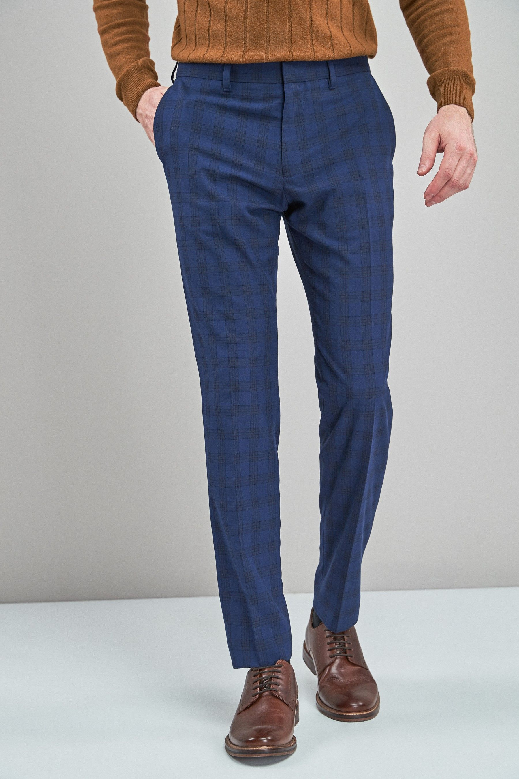 ad074ab44 Mens Next Bright Blue Check Skinny Fit Trousers - Blue | Products in ...