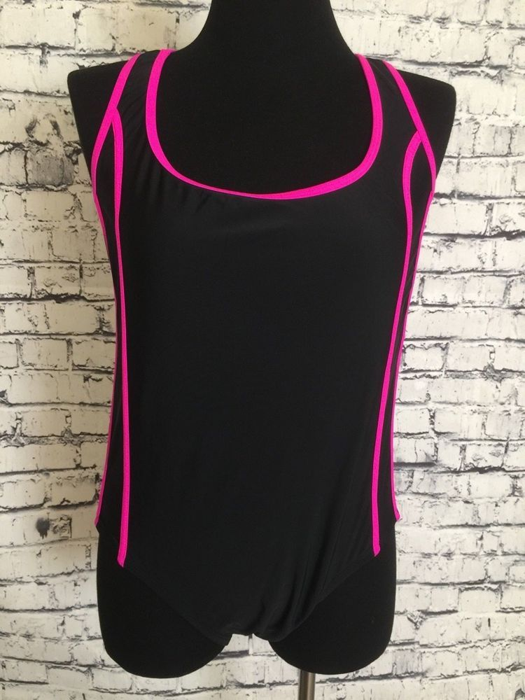 13a93c612d Women Plus Size Catalina Swimsuit Beach Swim Black Pink Trim Bathing Suit  1X 16W  Catalina  Suit