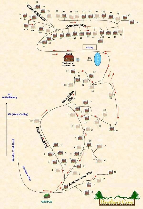 Pigeon Forge Zip Code Map.Brother S Cove Log Cabin Resort Map And Directions Travel Log