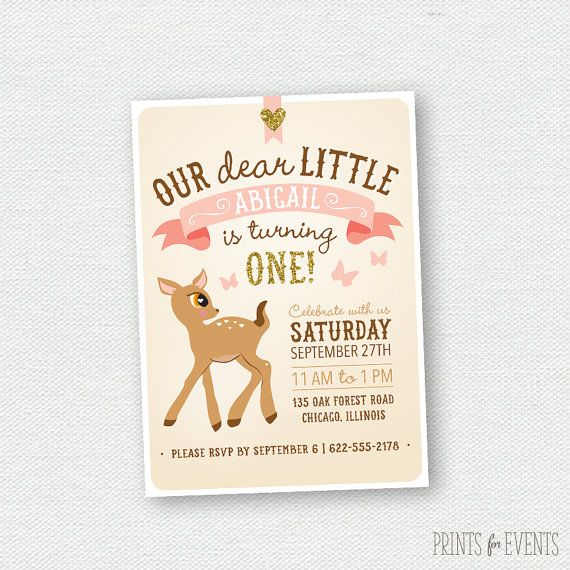 Glitter Deer Birthday Invitation First Birthday Invitation