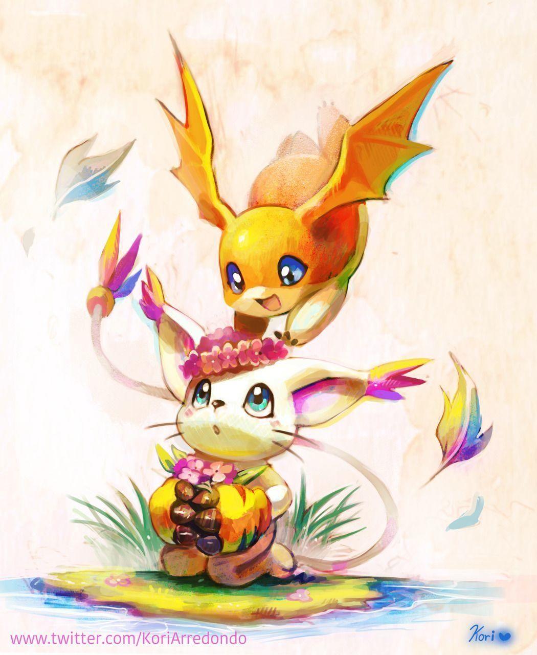 Patamon And Gatomon Digimon Digimon Wallpaper Digimon Tamers Digimon Digital Monsters