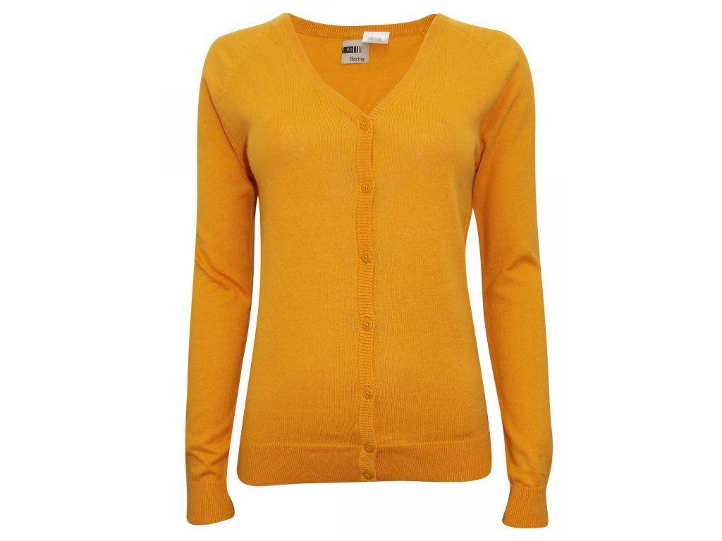Dámský žlutý propínací svetr. Dámský propínací svetr s výstřihem do V.  Barva žlutá. fe6e562992