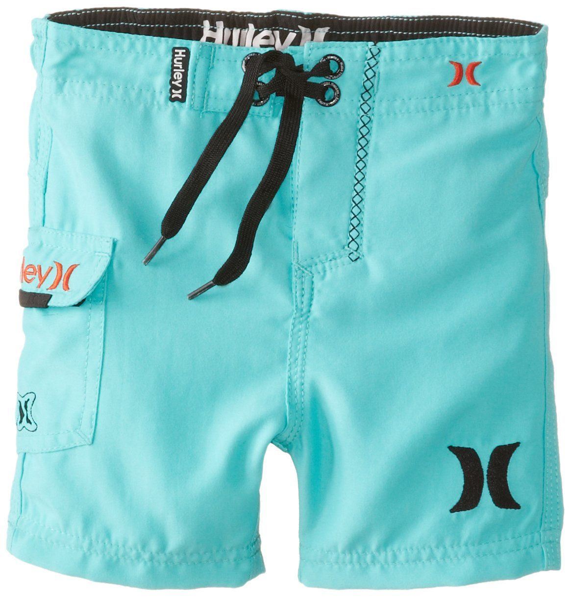 Hurley Baby-Boys Infant One and Only Short Sleeve Board Short, Bright Aqua, 12 Months