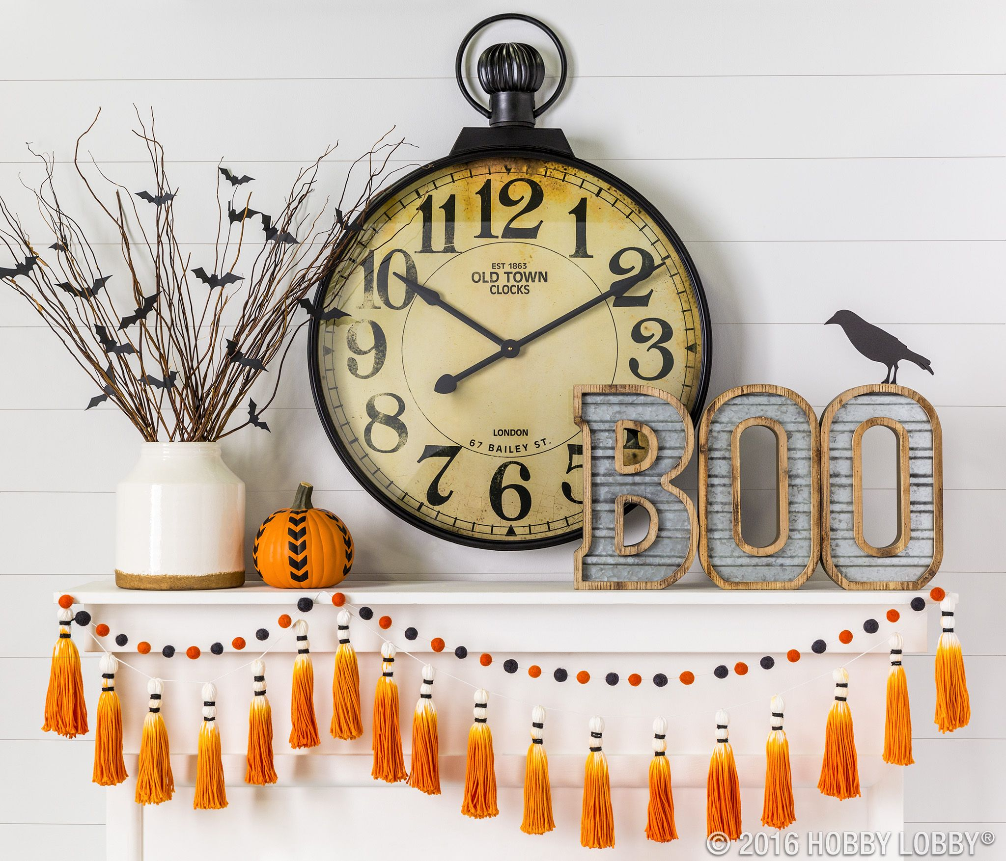 Black Metal Pocket Watch Wall Clock Mantels, Holidays and - Hobby Lobby Halloween Decorations