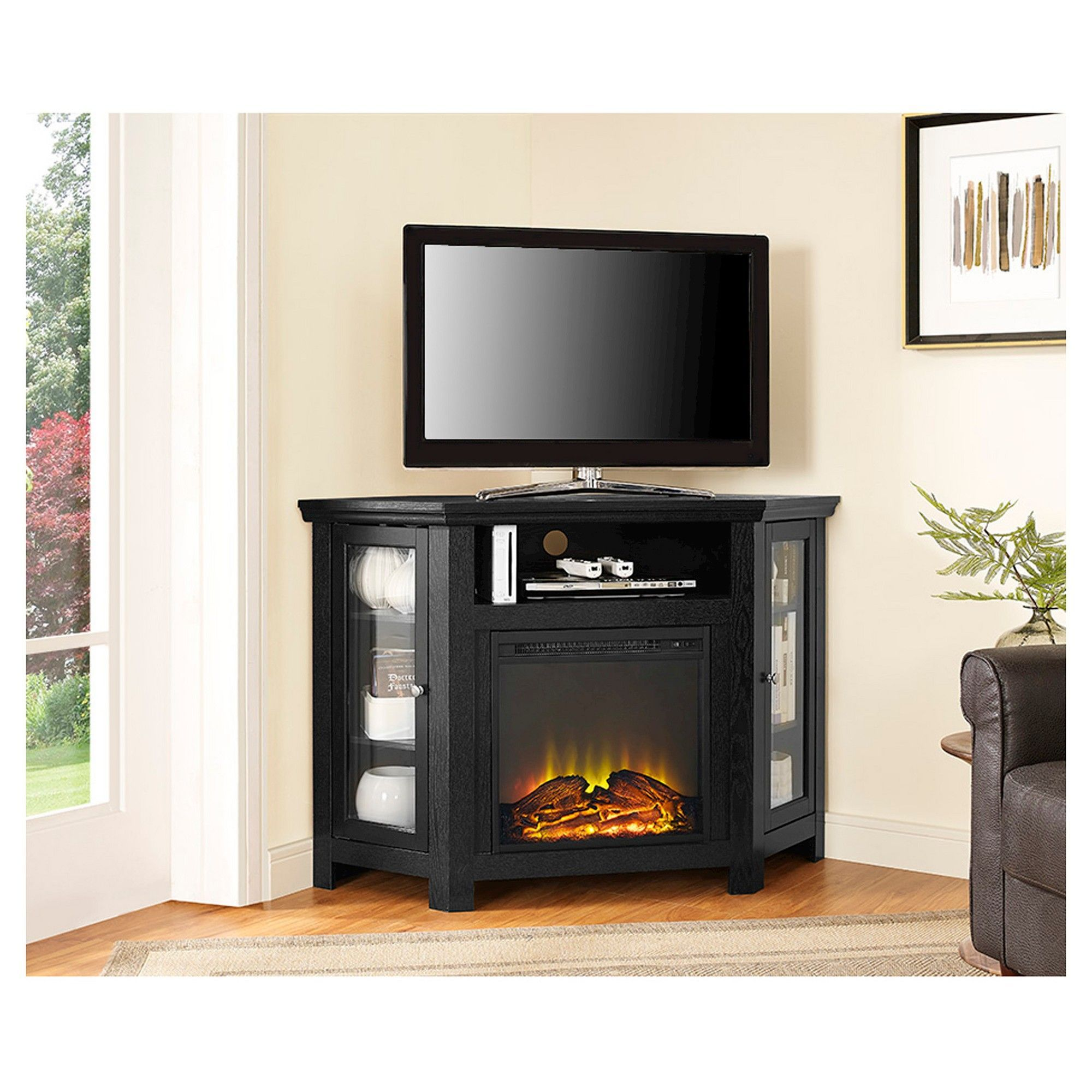 wood corner fireplace media tv stand console black saracina