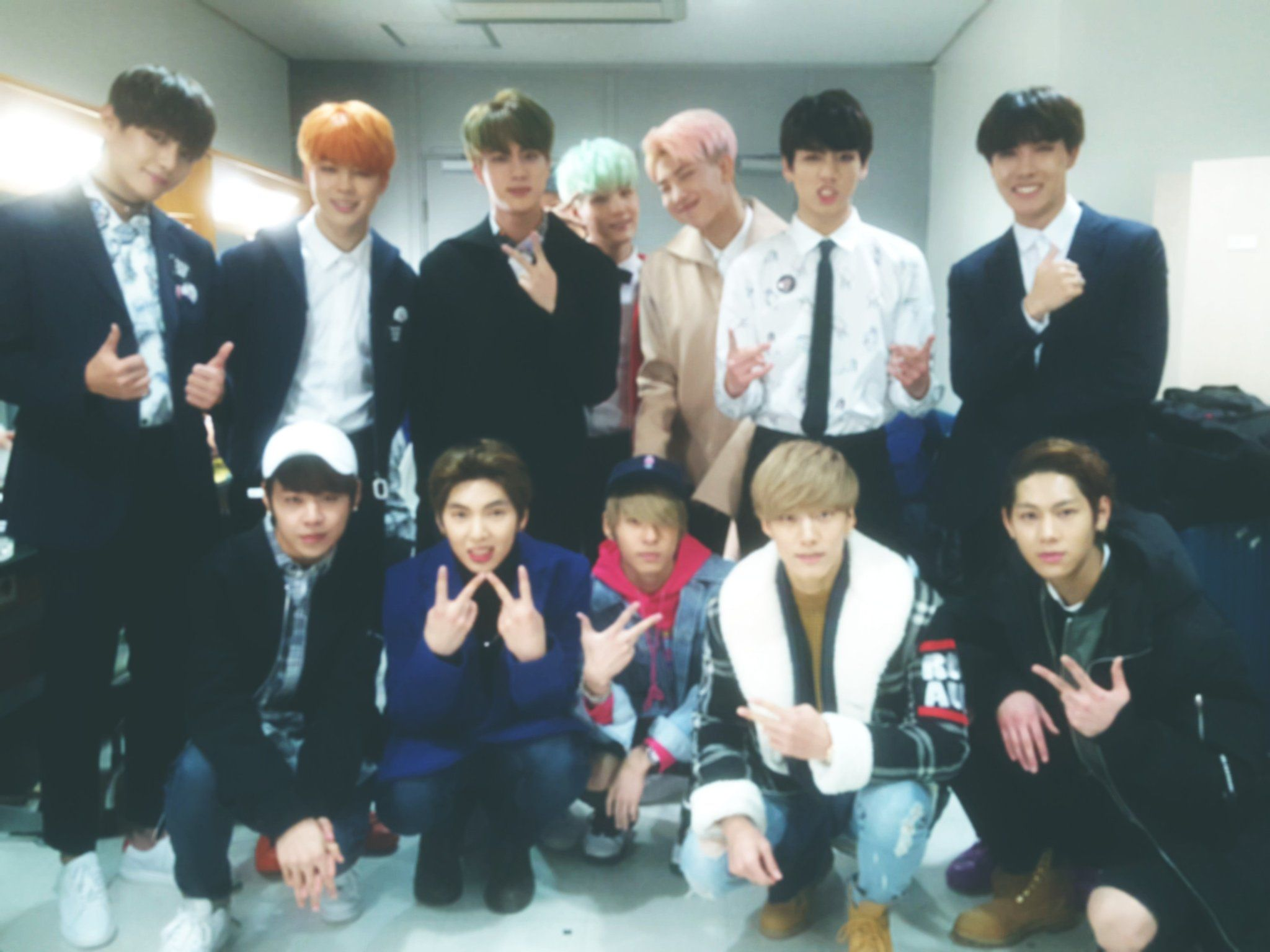 [Picture] BTS with Upcoming Boy Group IMFACT [151206] | btsdiary