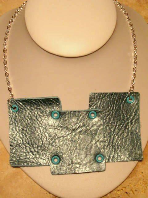 Metallic Turquoise, Teal, Aqua Leather Bib Necklace,. $28.00, via Etsy.  #leatherjewelry