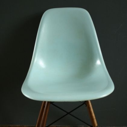 Eames Herman Miller DSW Side Chair In Duck Egg Blue