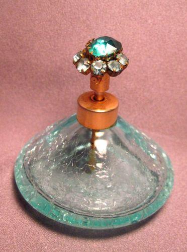 Vintage Aqua Crackle Glass Perfume Bottle with Rhinestone Top