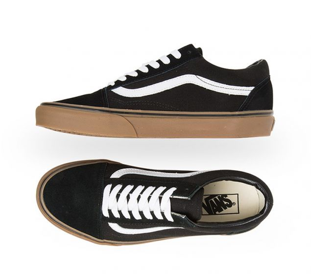black old skool vans gum sole
