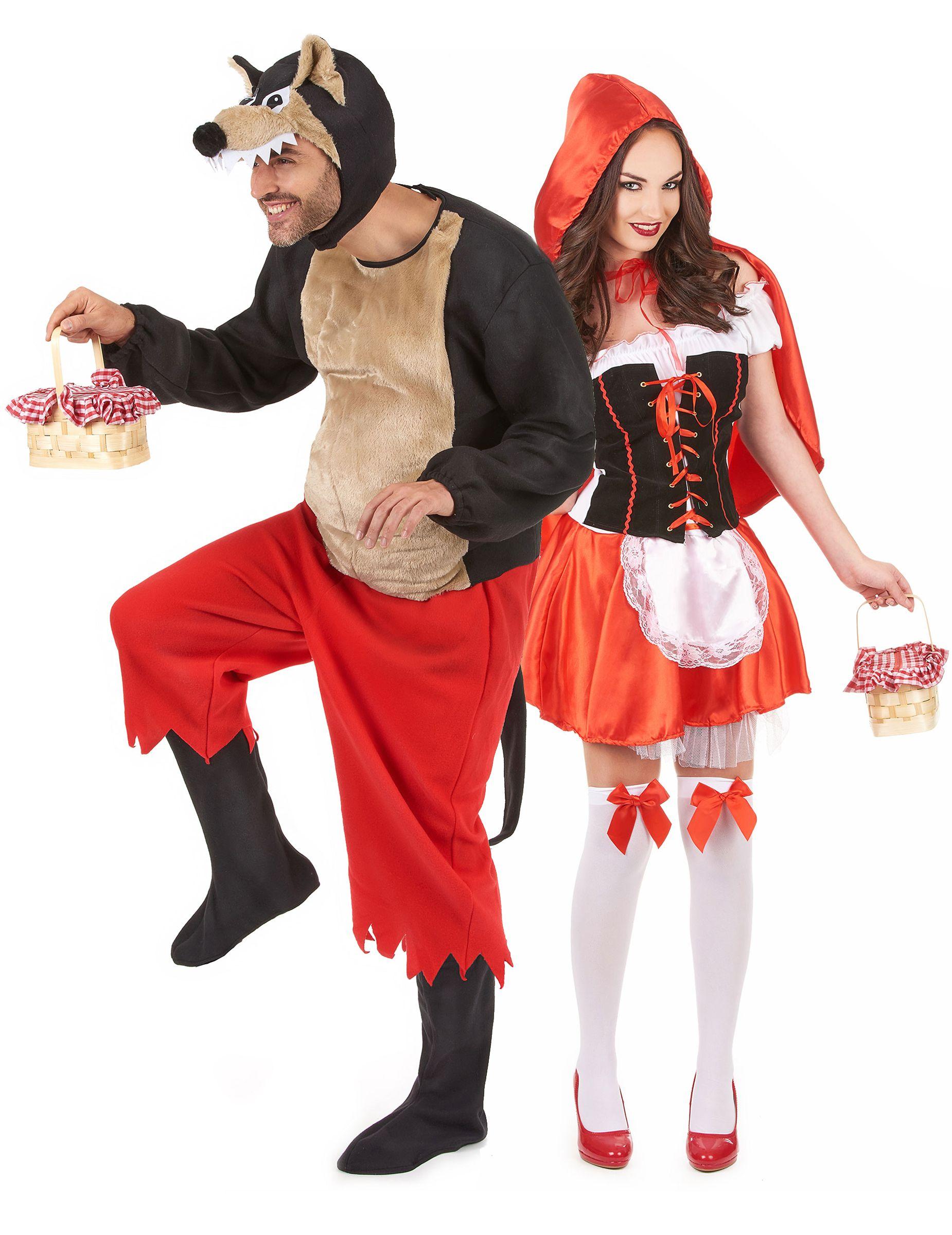 Erwachsenen Paar Verkleidung Rotkappchen Und Der Bose Wolf Rot