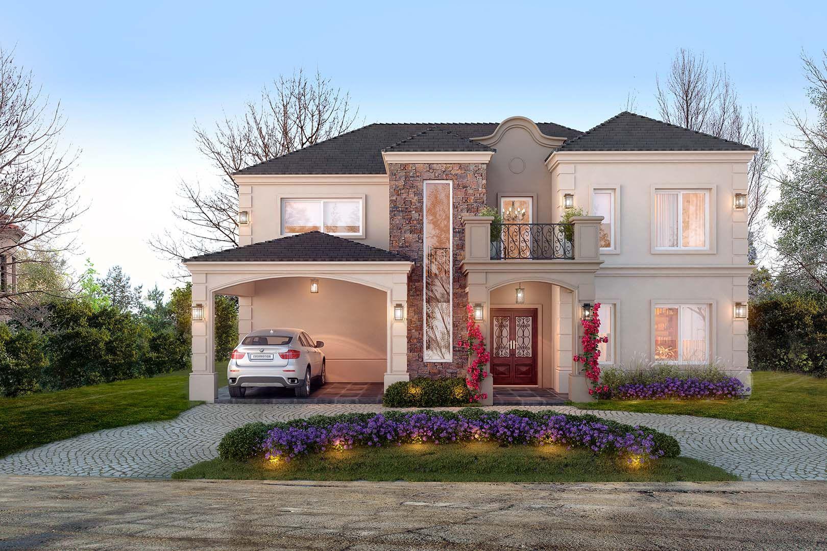 Estudio nf y asociados casa ver nica casanuevaideas for Fachadas de casas estilo clasico