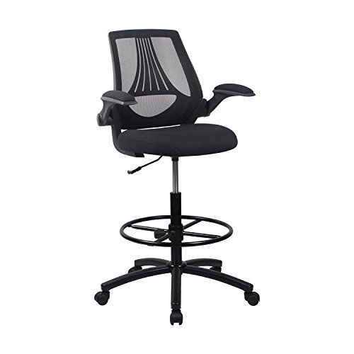 Tall Office Chair For Standing Desk Folding Patio Chairs Lch Ergonomic Drafting Mesh Adjustable Height With Arms Desks Black Bifma Certified