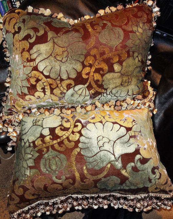 Pair Venetian Silk Velvet Designer Pillows Handmade Large 20 X Etsy Designer Pillow Velvet Pillows Silk Velvet Fabric