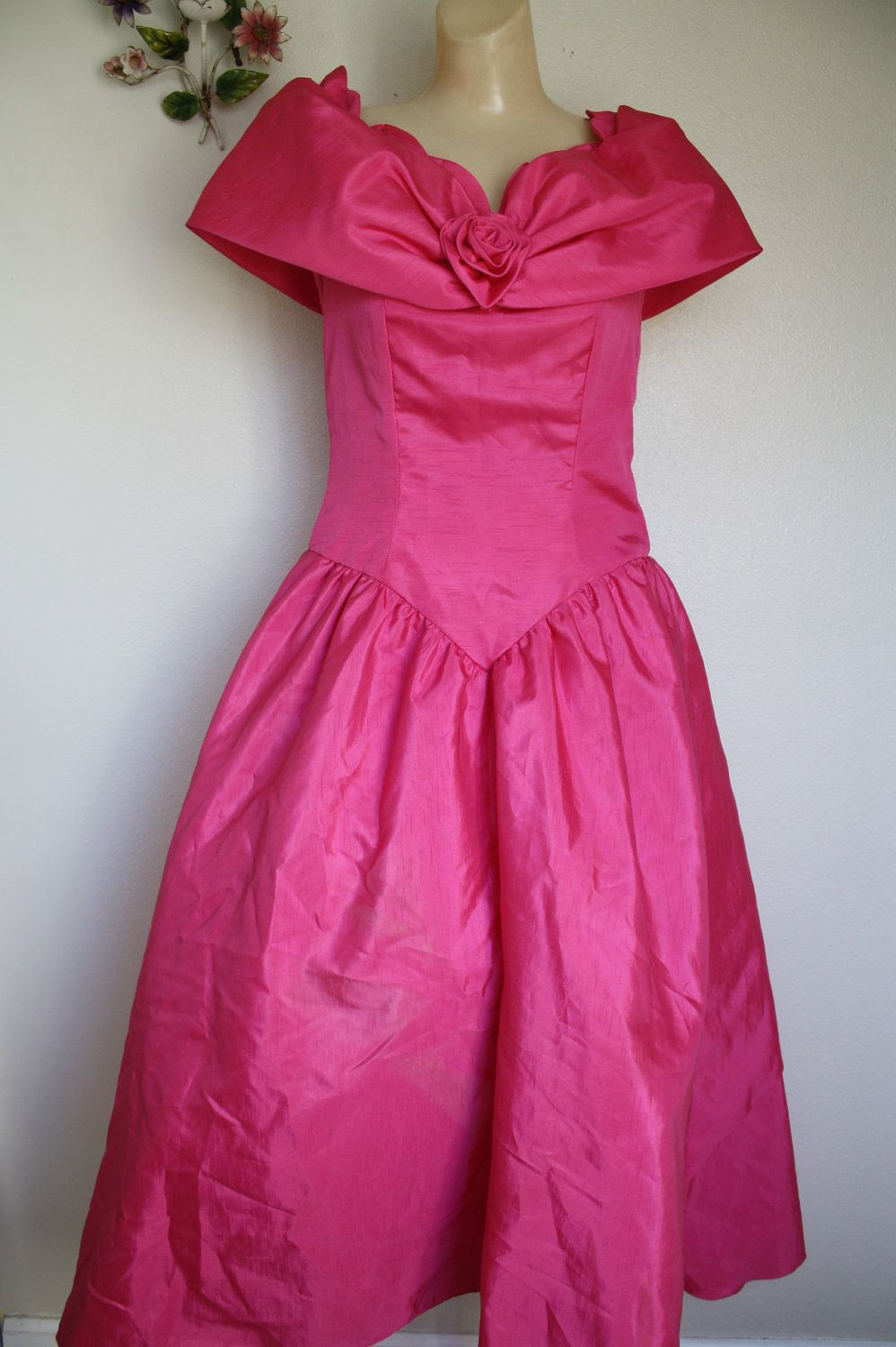 vintage 80\'s princess pink prom dress SOUTHERN BELLE bustle S/M ...